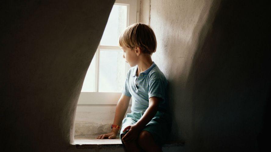 lonely mood sad alone sadness emotion people loneliness Solitude window child children boy wallpaper