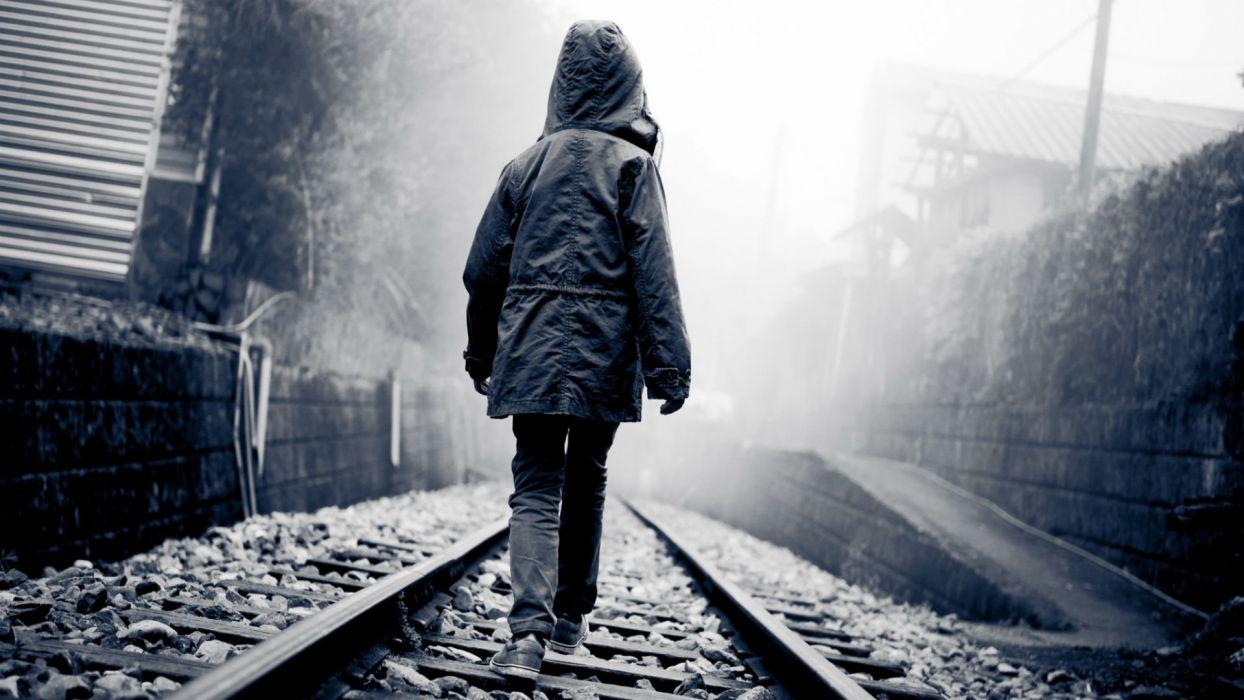 lonely mood sad alone sadness emotion people loneliness Solitude train tracks railroad boy child children wallpaper
