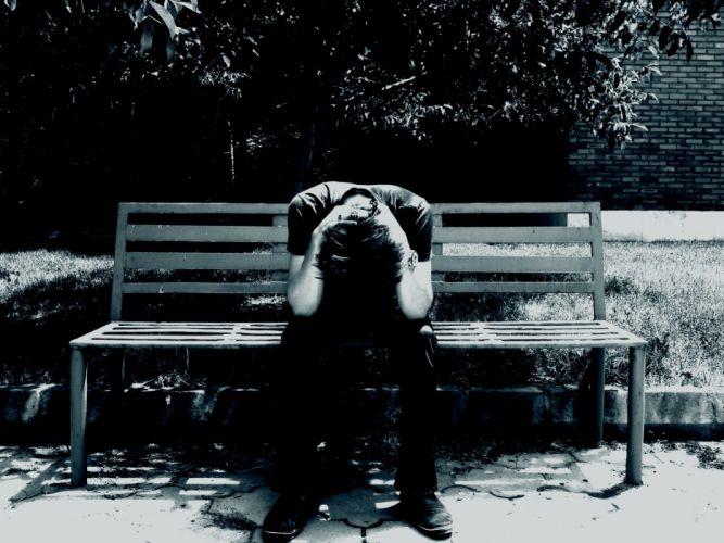 lonely mood sad alone sadness emotion people loneliness Solitude sorrow bench man men wallpaper