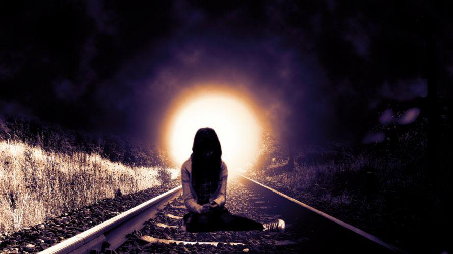 lonely mood sad alone sadness emotion people loneliness Solitude sorrow girl train tracks railroad suicide death emo wallpaper