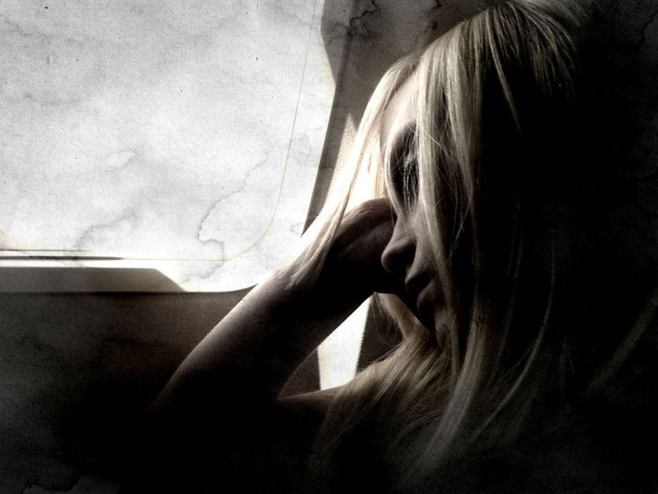 lonely mood sad alone sadness emotion people loneliness Solitude sorrow window girl blonde wallpaper