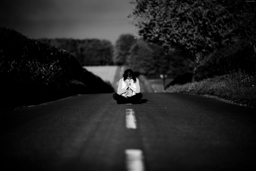 lonely mood sad alone sadness emotion people loneliness Solitude sorrow girl road suicide death wallpaper