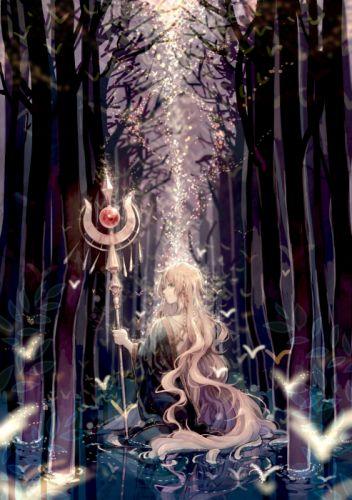 anime girl original forest magic long hair tree wallpaper