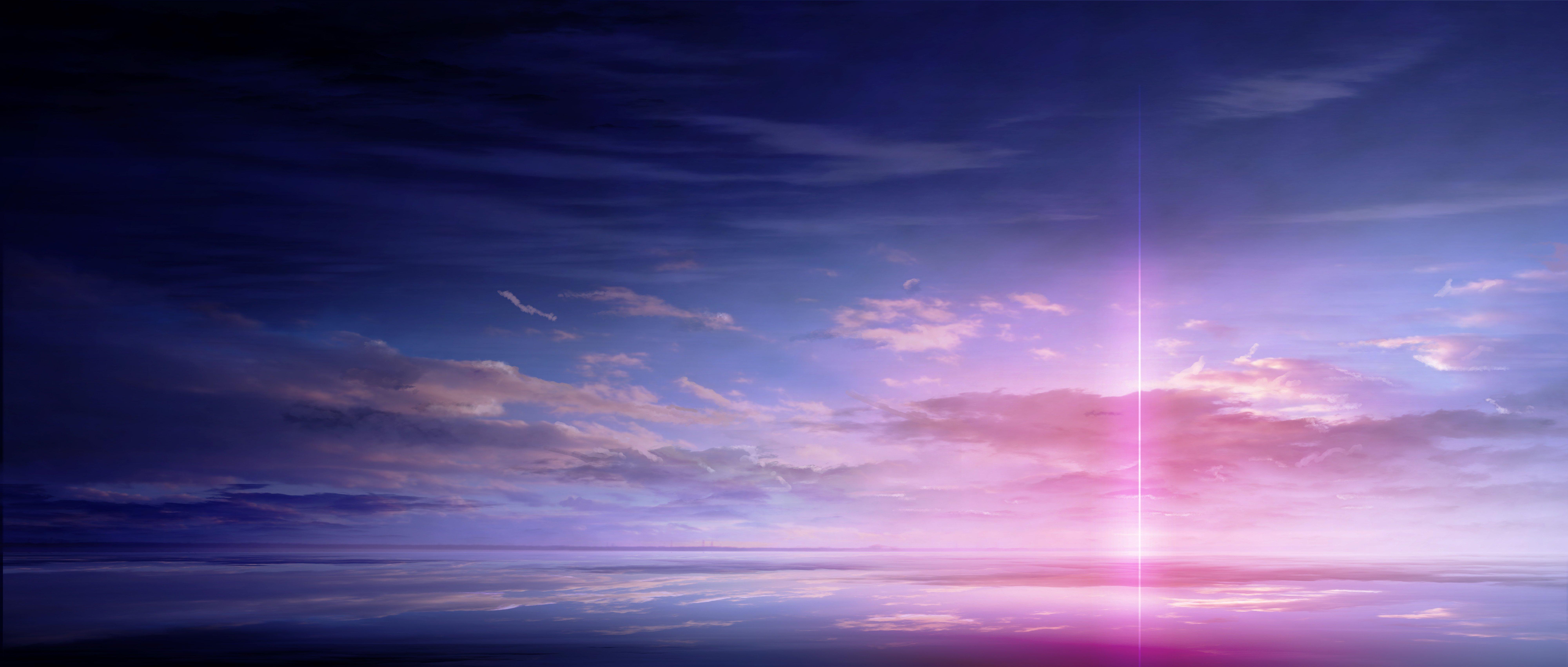 anime scan landscape sky cloud beautiful light color
