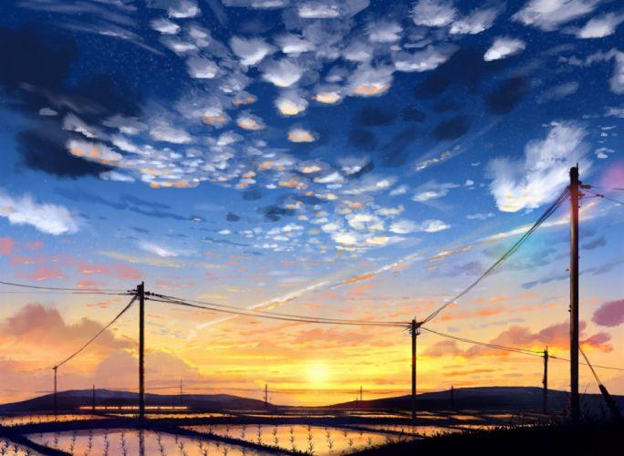 anime scan sky cloud landscape sun wallpaper
