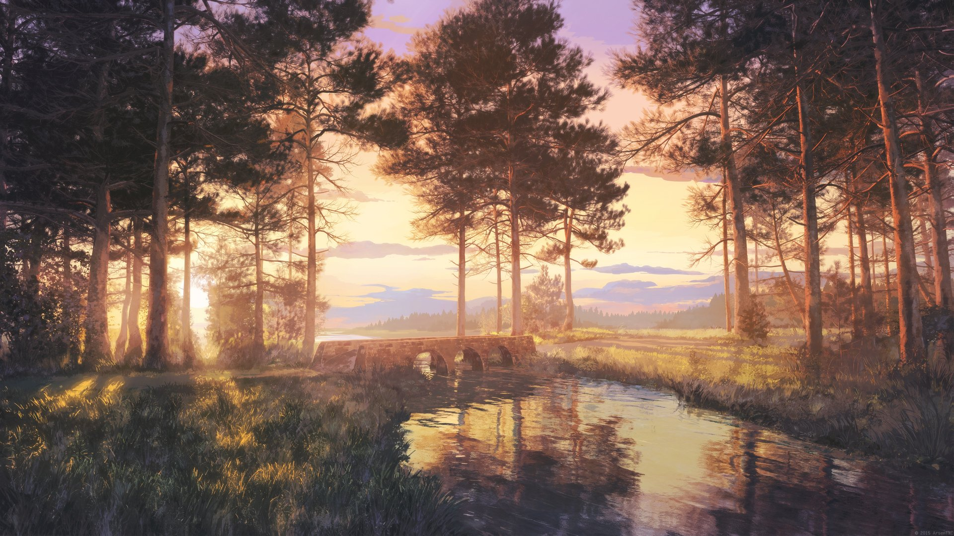 Anime beautiful landscape nature scan forest sunlight lake ...