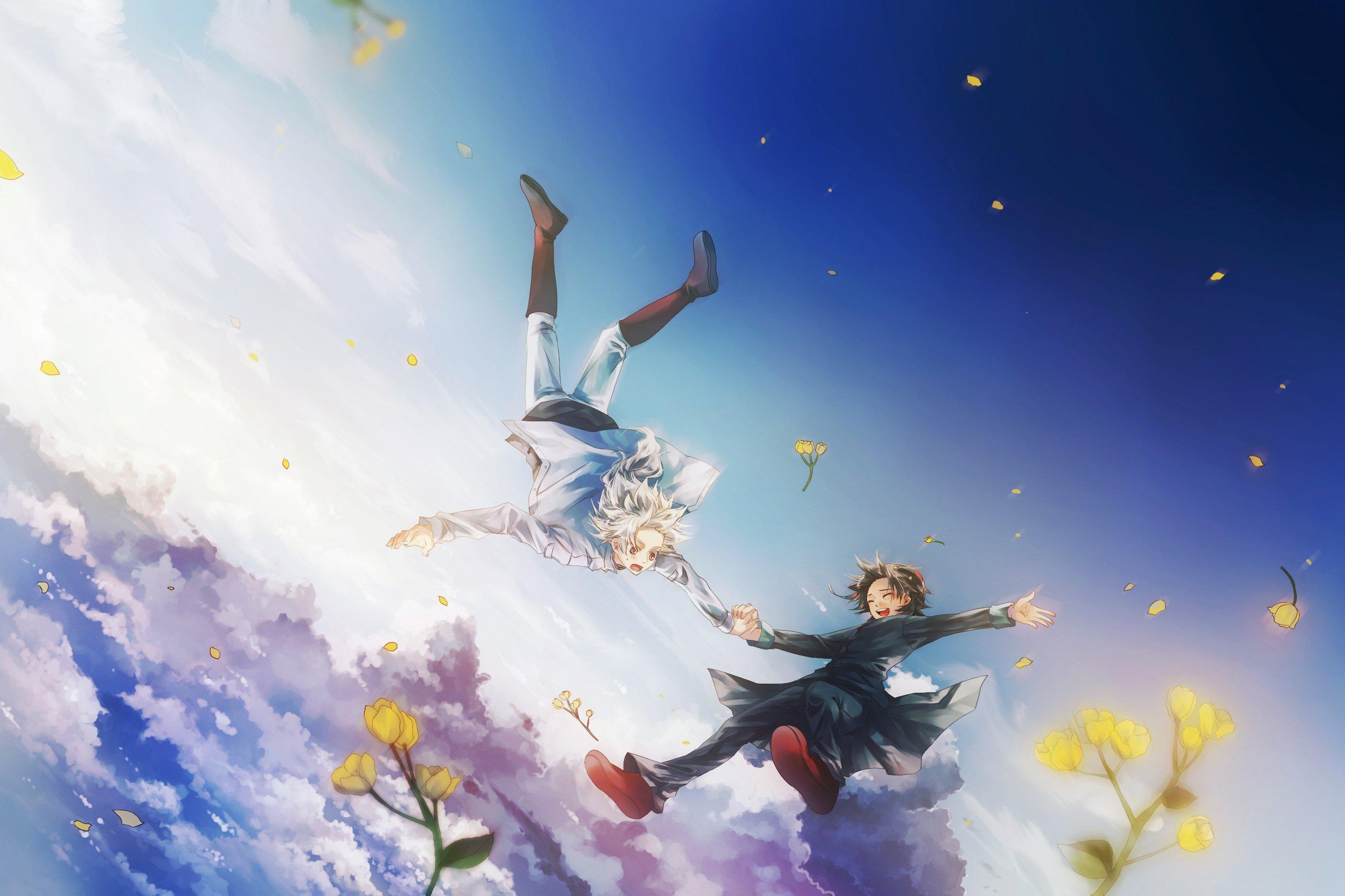 Anime Fly Boys Flower Sky Clouds Wallpaper
