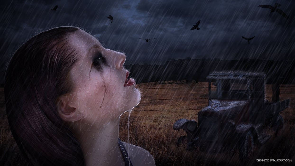 lonely mood sad alone sadness emotion people loneliness Solitude girl rain drops wallpaper