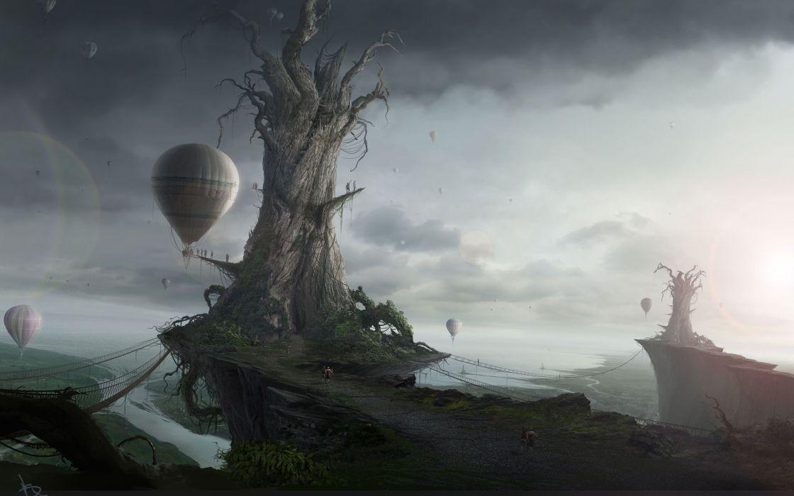 lonely mood sad alone sadness emotion people loneliness Solitudfantasy balloon steampunk airship artwork wallpaper