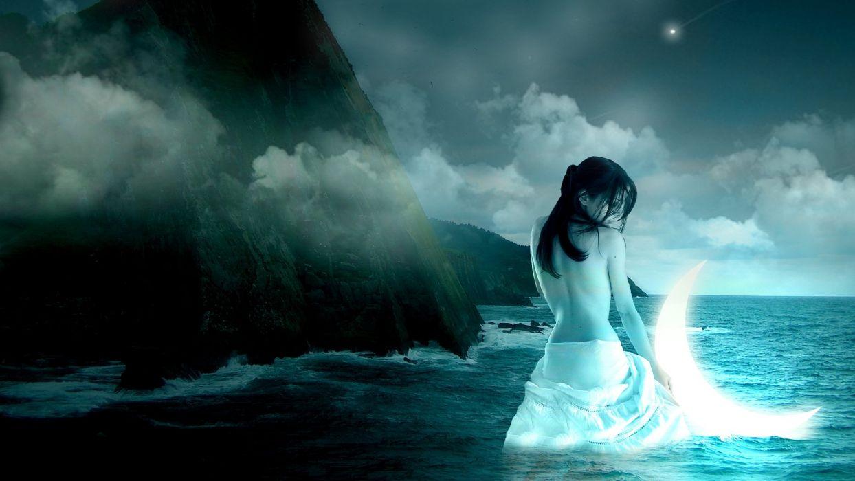 lonely mood sad alone sadness emotion people loneliness Solitude moon mermaid wallpaper