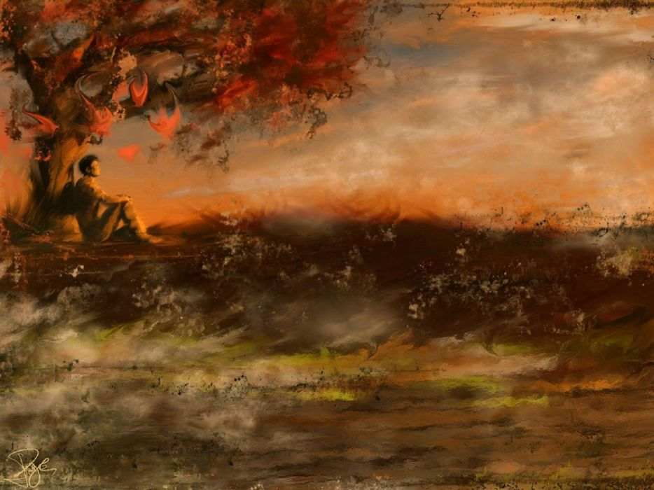 lonely mood sad alone sadness emotion people loneliness Solitude autumn artwork wallpaper