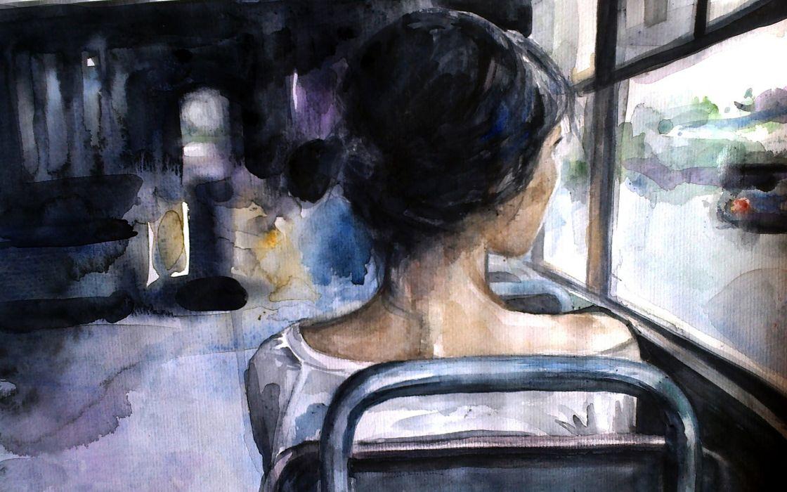 lonely mood sad alone sadness emotion people loneliness Solitude girl artwork wallpaper