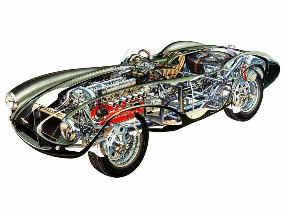 Aston Martin DB3S classic cars technical wallpaper