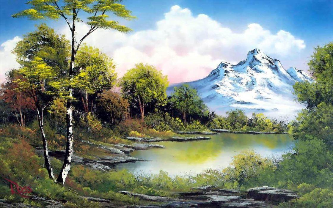 naturaleza pinturas arte lago wallpaper