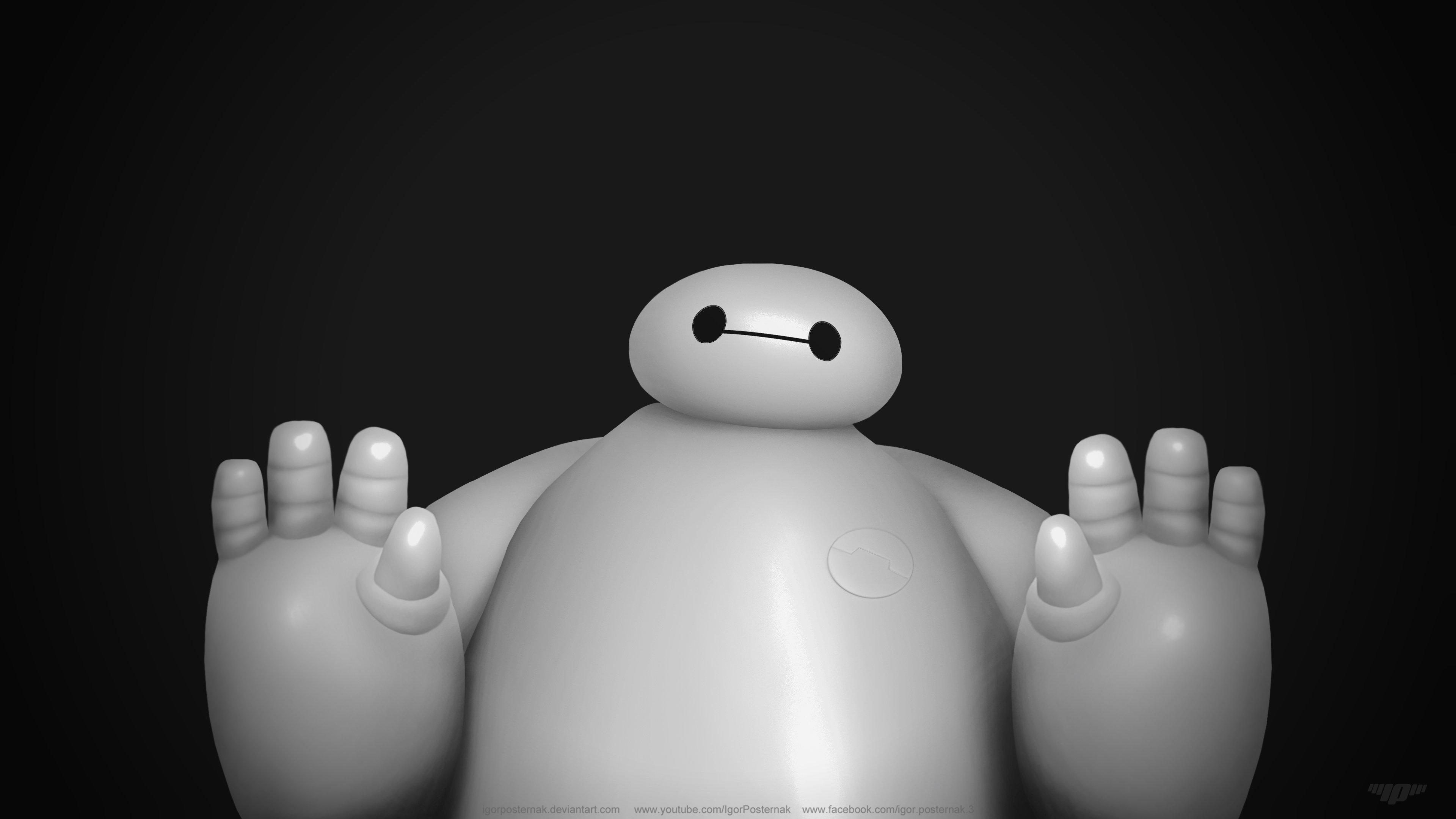 big hero 6 baymax cartoon cute robot funny wallpaper | 3840x2160