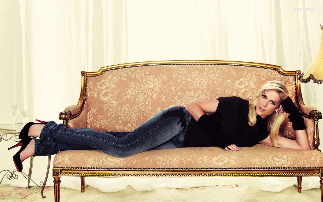 SENSUALITY - Ana Hickmann brazilian model girl blonde jeans couch wallpaper