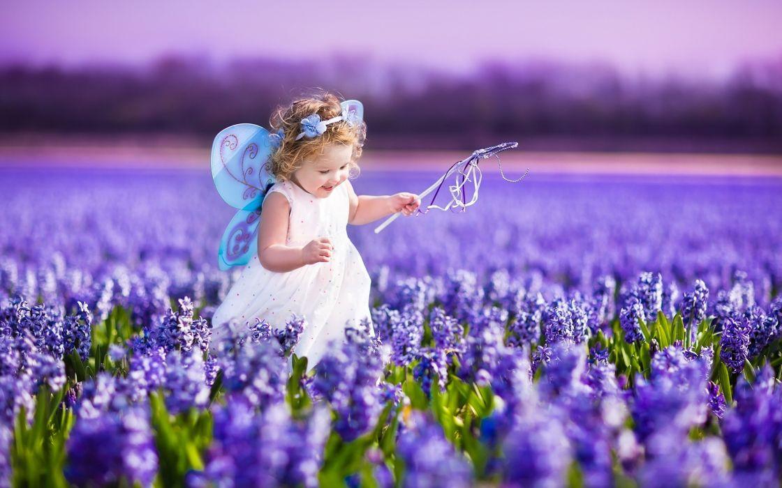 Flowers Spring Kids Children Childhood Purple Butterfly