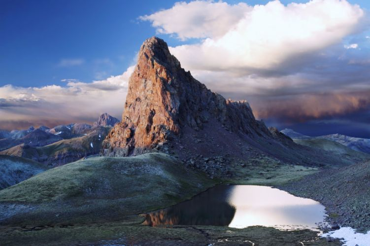 landscapes nature mountains high sky clouds lakes earth wallpaper