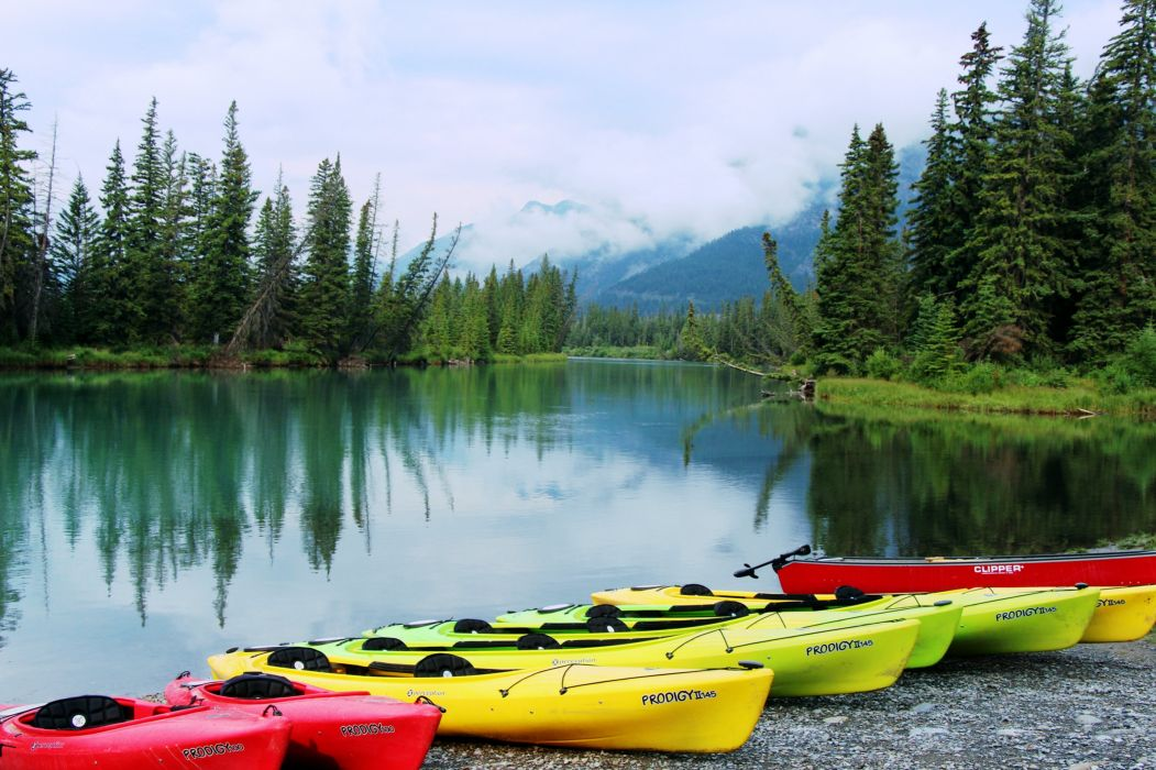 lakes trees jungle forest clouds mountains landscapes nature earth Boats colors sports wallpaper