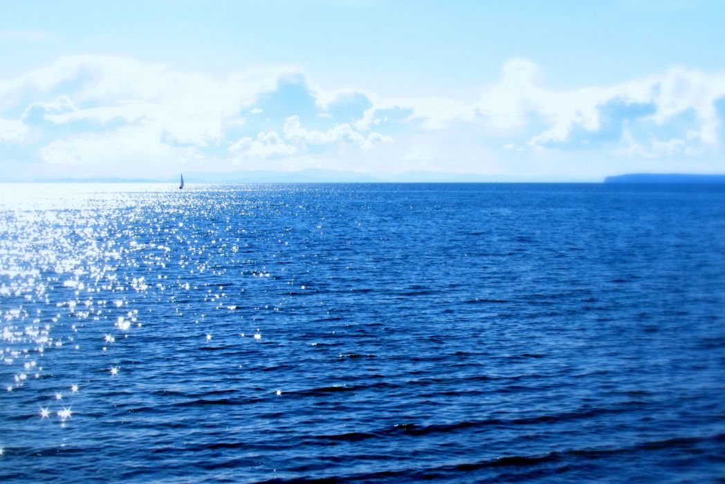 sea boat blue sky clouds sunny summer landscapes nature earth ocean wallpaper