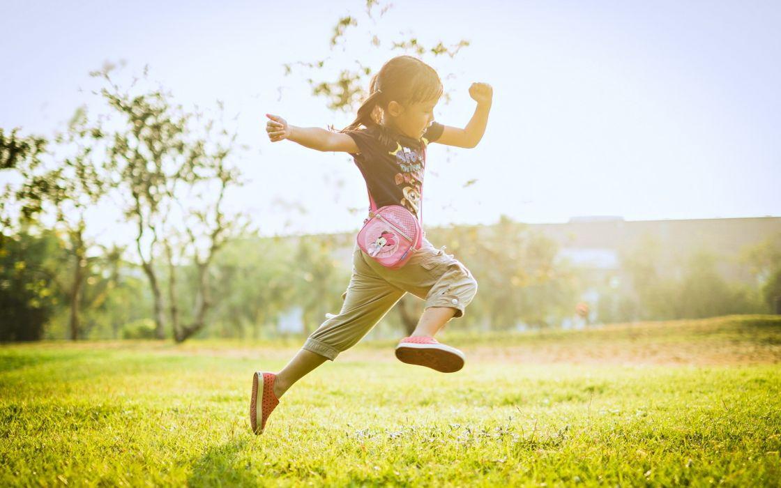 girl kids children childhood fun joy happy nature little enjoy playing summer grass landscapes earth wallpaper