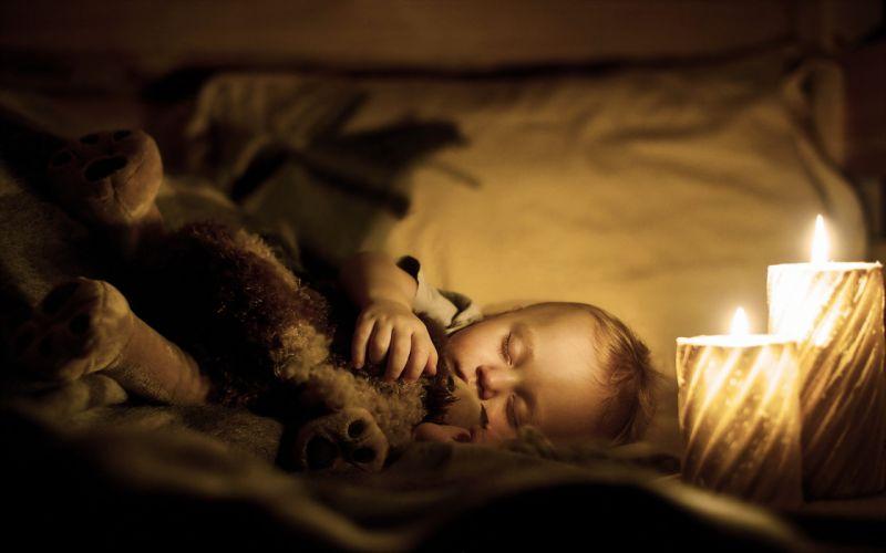 bed kids children childhood fun joy happy nature little sleep candles lights teddy wallpaper