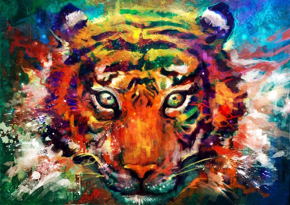 tiger tiger predator carnivore cat artwork psychedelic f wallpaper