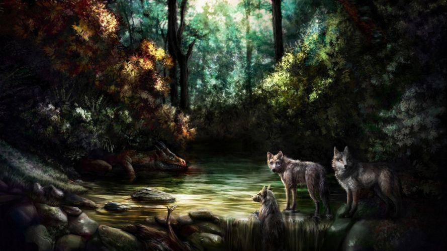 wolf wolves predator carnivore artwork forest d wallpaper
