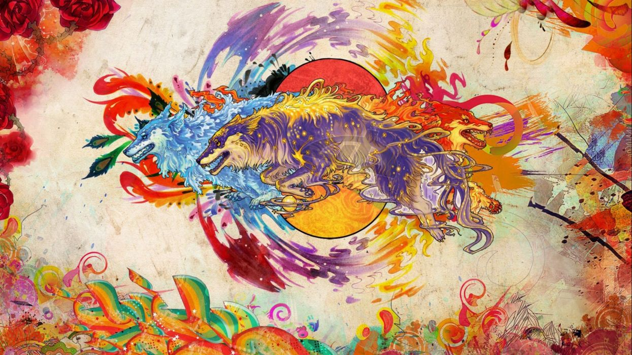 wolf wolves predator carnivore artwork psychedelic d wallpaper