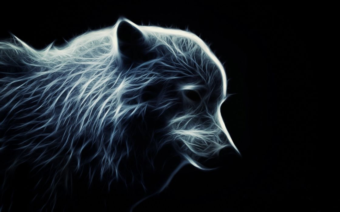 wolf wolves predator carnivore fractal artwork d wallpaper