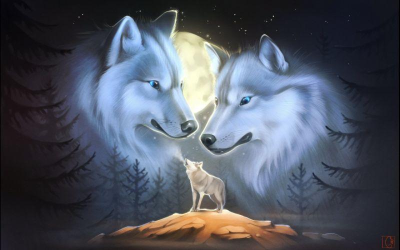 wolf wolves predator carnivore fantasy artwork moon night d wallpaper