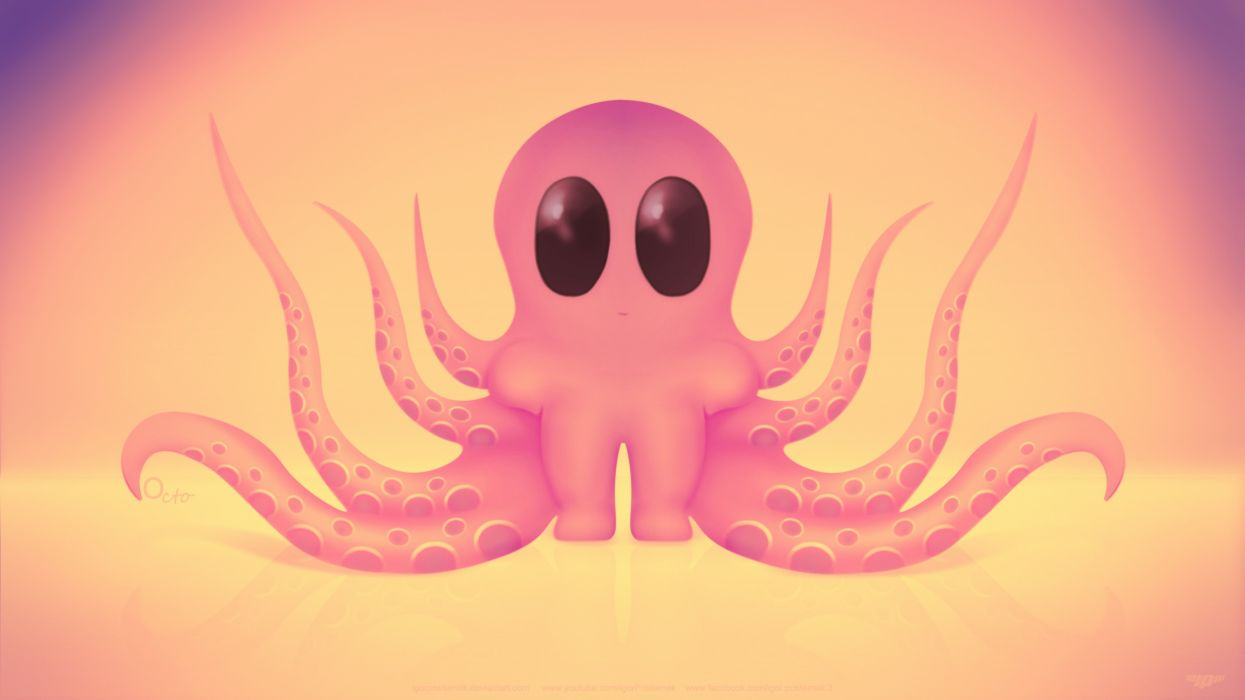 Octo octopus funny love art cute toy mac pc desctop free wallpaper wallpaper
