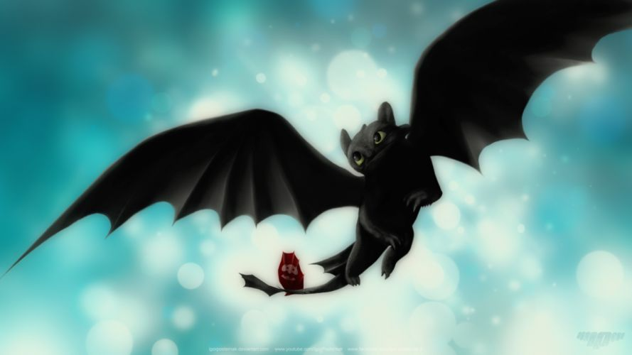 Night fury toothless dragon cartoon how to train your dragon HTTYD wallpaper