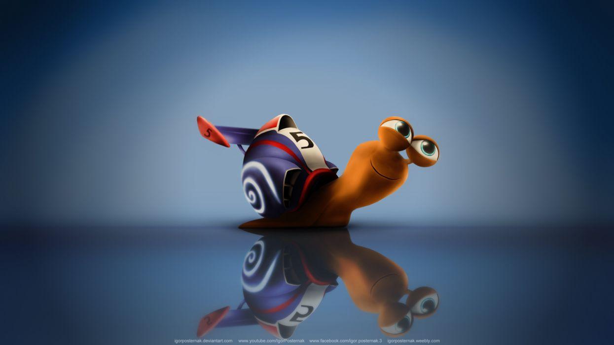 Turbo snail cartoon cute funny love pc mac desktop free wallpaper