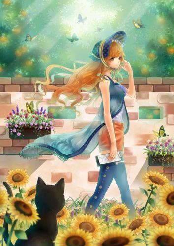 original anime girl sunflower summer dress flower cat butterflyanimal wallpaper