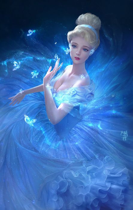 cinderella blue color magic butterfly dress beautiful girl disney cartoons blue eyes wallpaper