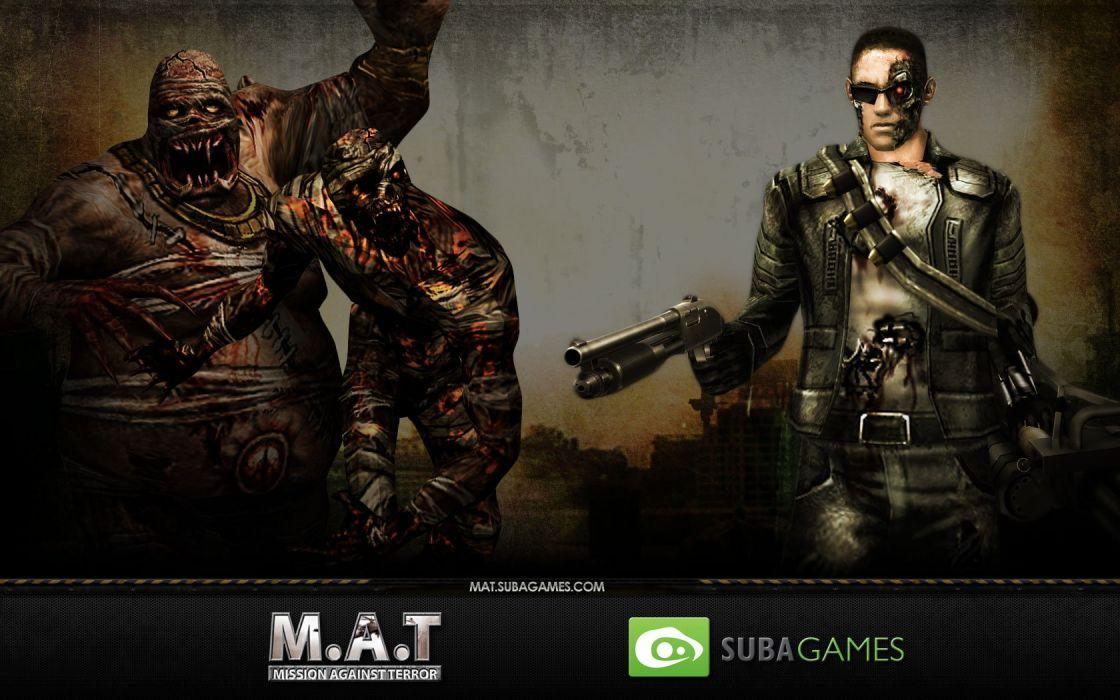 MISSION AGAINST TERROR mat action fighting 1mat adventure fps shooter online sci-fi warrior weapon gun poster robot cyborg terminator wallpaper