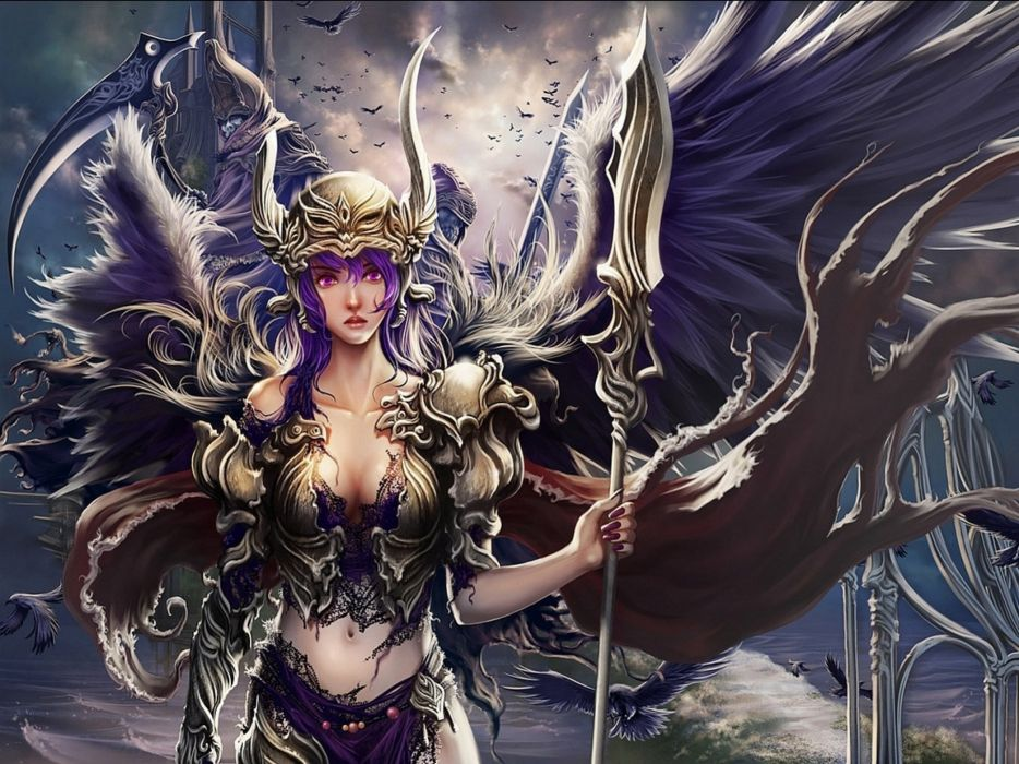 fantasy ange warrior artwork art wallpaper