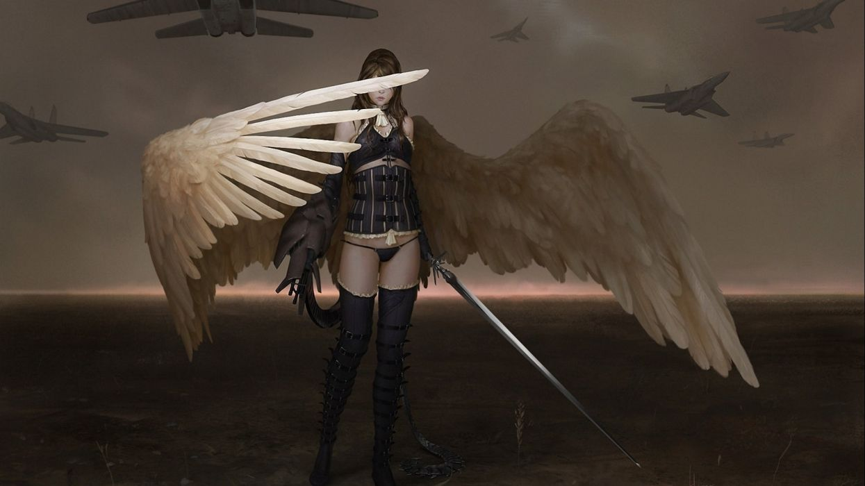 fantasy ange warrior artwork art wallpaper