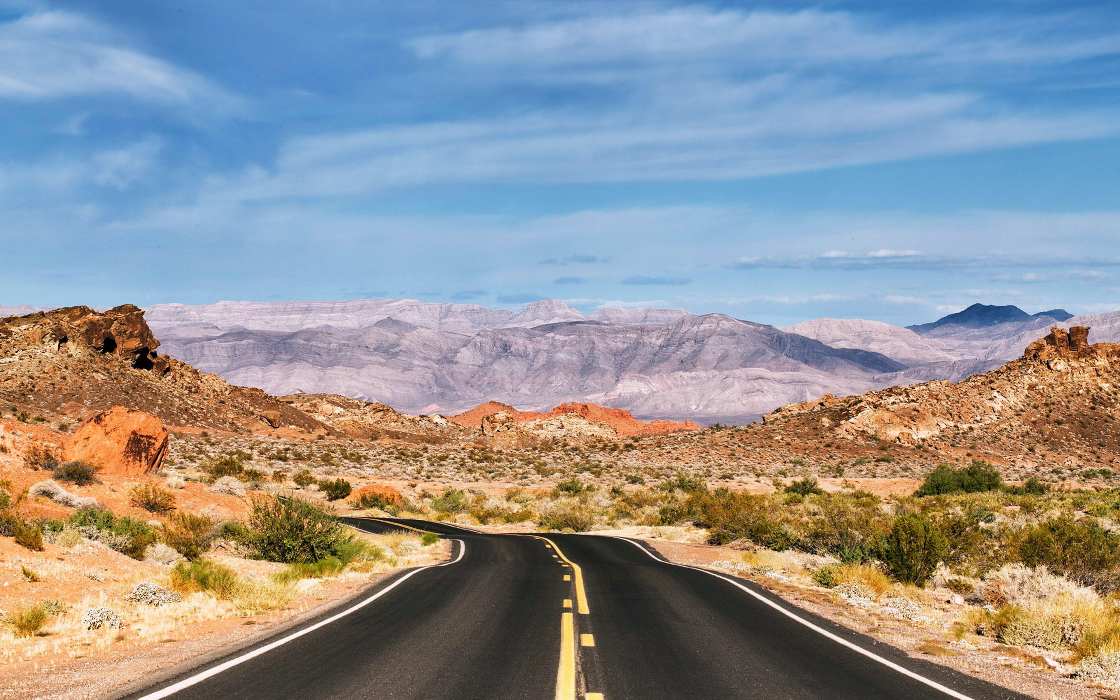 Landscapes Road Desert Hills Mountains Rocks Sky Clouds