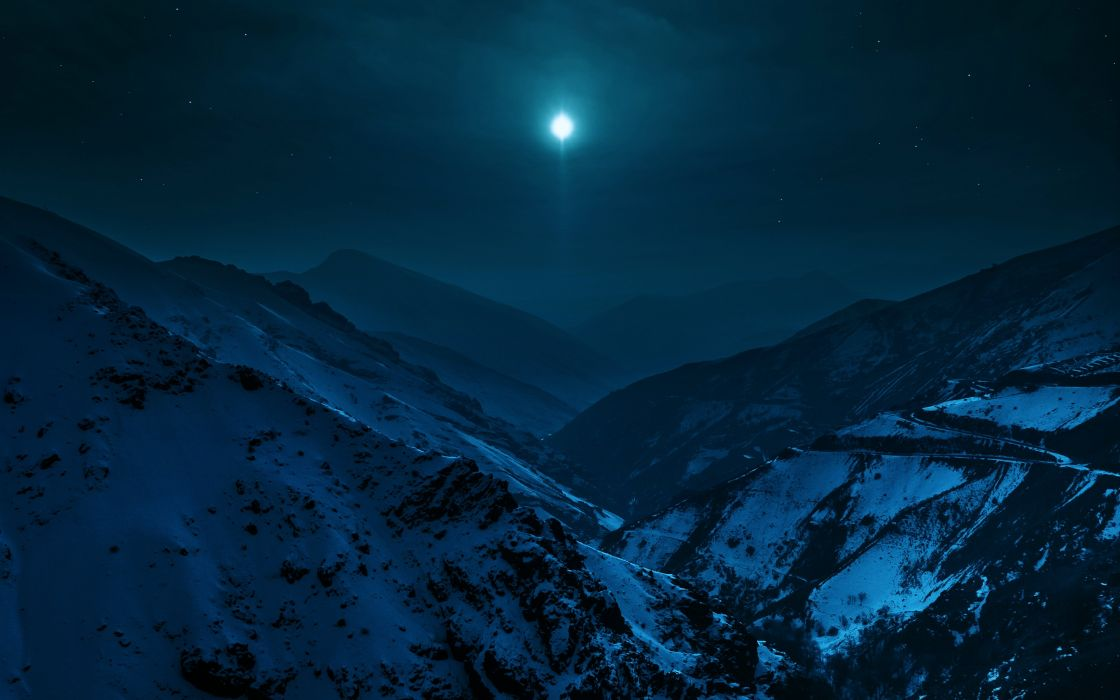 landscapes night nature moon stars sky mountains snow cold earth wallpaper