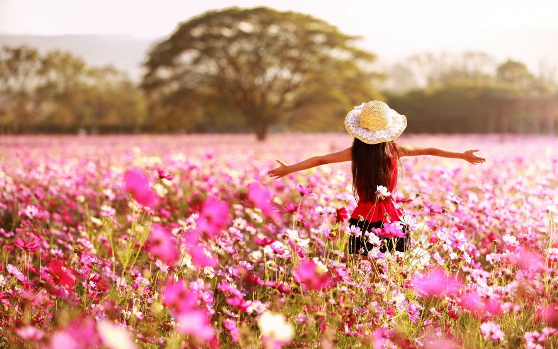 kids children childhood girls joy happy spring nature landscapes earth flowers pink rose trees countryside fun life wallpaper