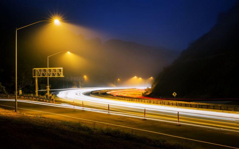 road night fog hills Lamps way path lights landscapes nature earth wallpaper