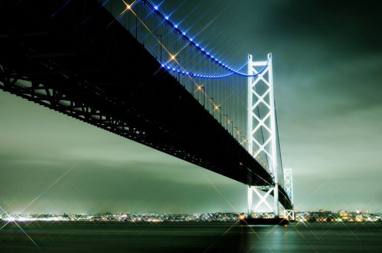 yaponiya japan akashi bridge sea lights city sky clouds wallpaper