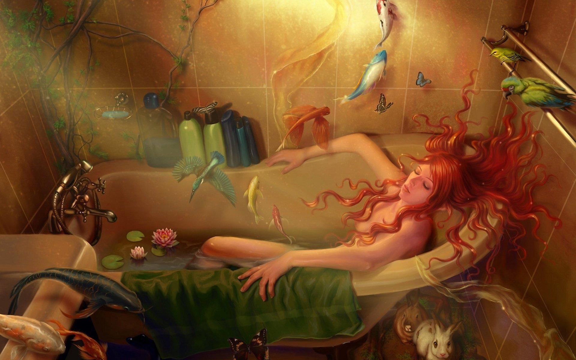 Фото рыжая в ванне 2 фотография