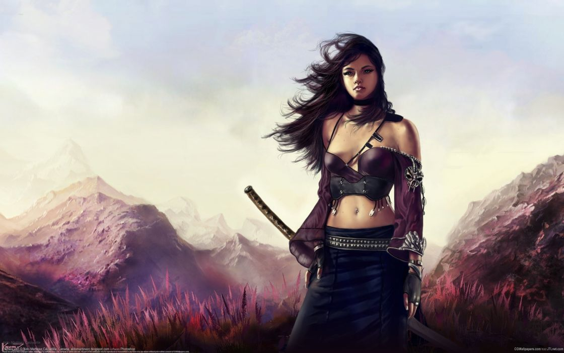 art girl sword wind mountains katana wallpaper