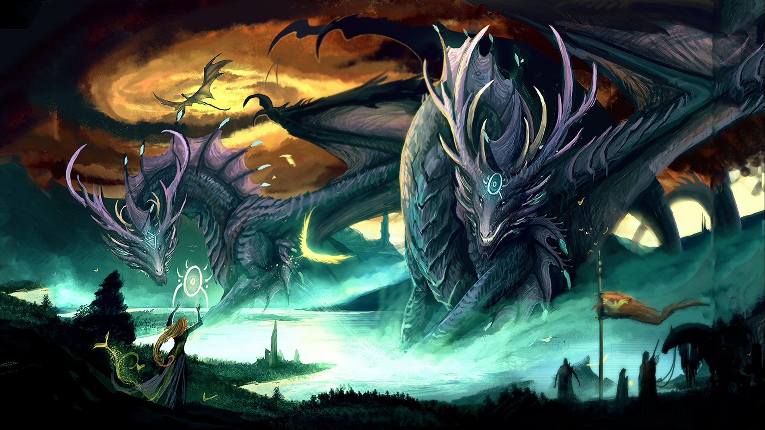 Dragon fantasy artwork art dragons wallpaper | 2560x1440 ...
