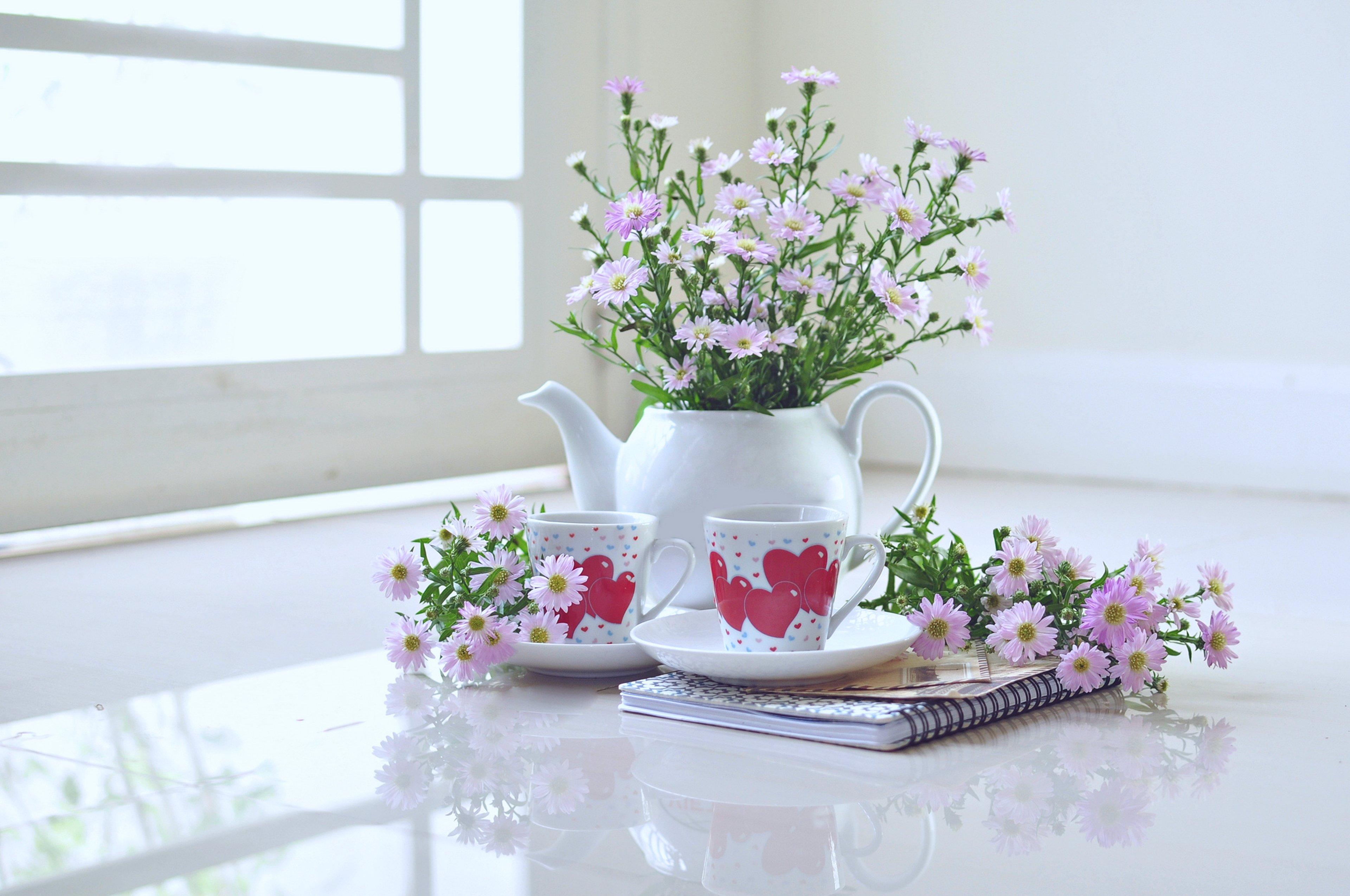 Window Decoration Flowers House Scenery Vase Books Cups