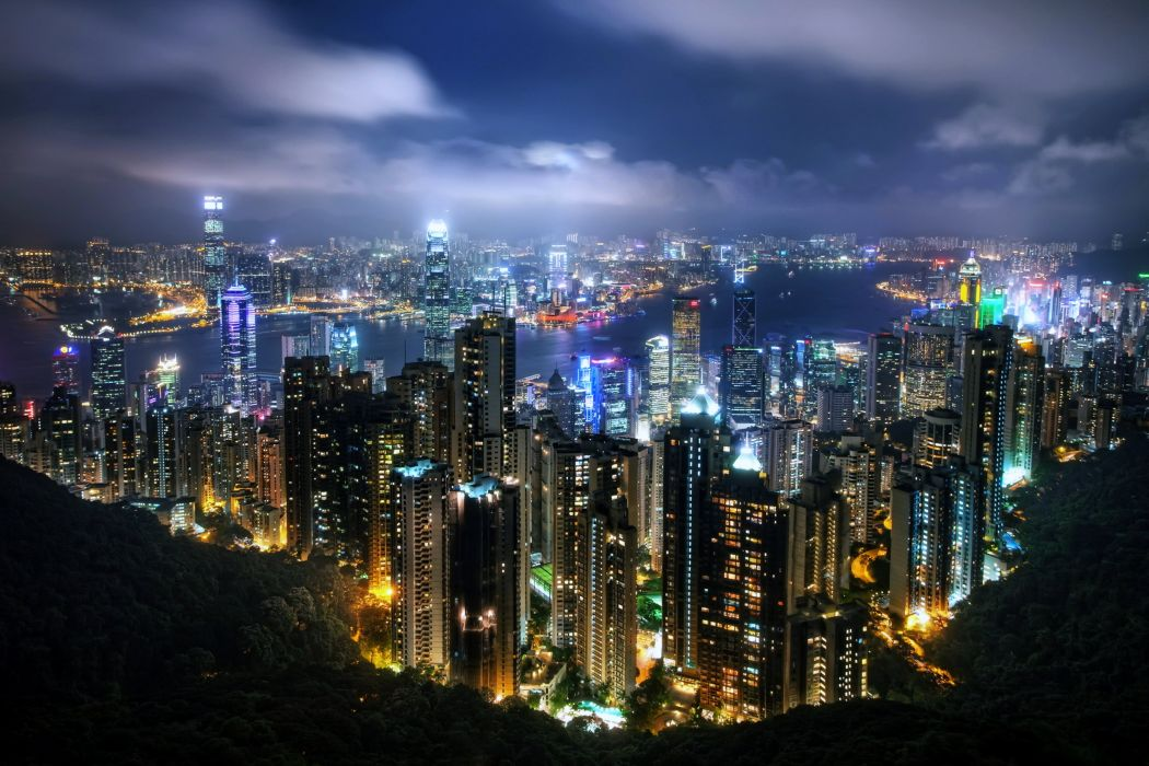 hong kong china noch nebo boats buildings Burj City Country development Evening Globalization gulf hotels Lights port Sea sky skyscrapers technology wallpaper