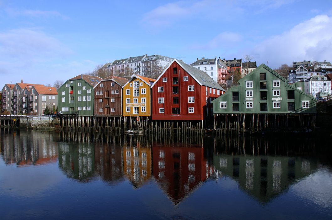 Norway norvegia Trondheim Nidaros SAAr-TrAAndelag Rita Ottervik colors houses city town water sea nature sky clouds sunny wallpaper